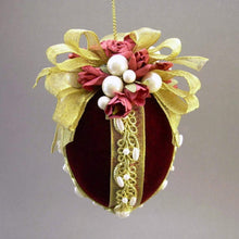 "Load image into Gallery viewer, Velvet Egg Christmas Ornament in Burgundy - Handmade by Towers and Turrets - ""Mrs. McCray's Rose Garden"""