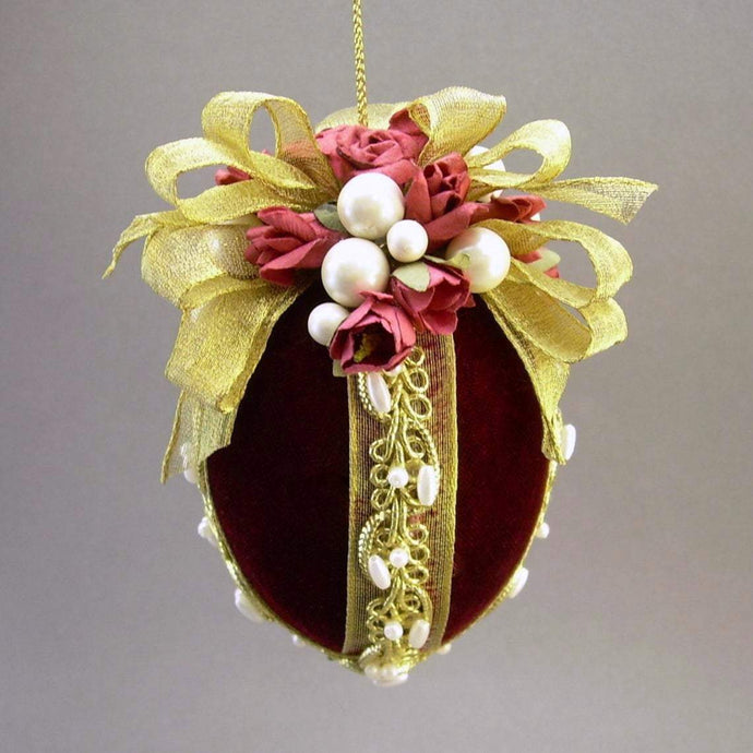 Velvet Egg Christmas Ornament in Burgundy - Handmade by Towers and Turrets -