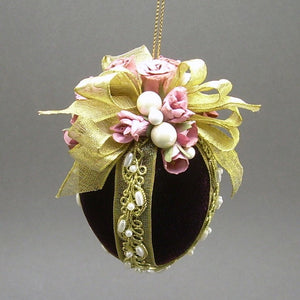 "Velvet Egg Christmas Ornament in Burgundy - Handmade by Towers and Turrets - ""Mrs. McCray's Rose Garden"""