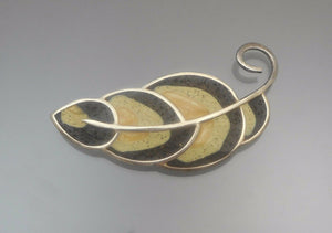 Handmade David Urso Sterling Silver and Resin Brooch - US Artisan Crafted, Autumn Leaf Design