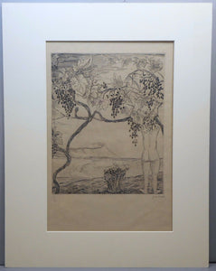 "c 1920 Joseph Hecht ""Vendange"" (Grape Harvest) Engraving"