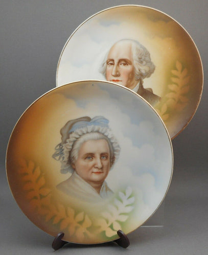 Antique Leuchtenburg Germany Porcelain Plates, Pair Depicting George and Martha Washington