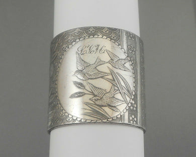 Antique Victorian Aesthetic Movement Napkin Ring  - Silver Plate, Monogrammed LVM