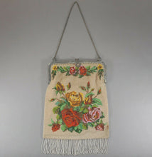 Load image into Gallery viewer, Antique 1920s Micro Beaded Evening Purse - Beige with Red Roses, Silver Tone Frame and Chain