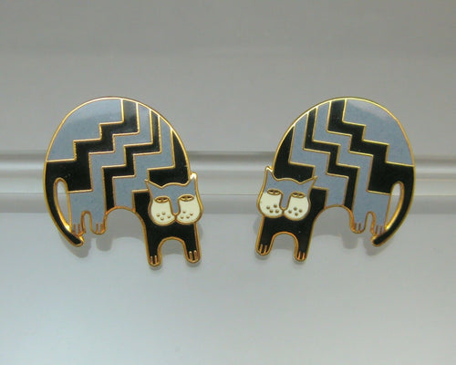 Vintage Laurel Burch Aztec Cat Earrings - Black and Gray Enamel