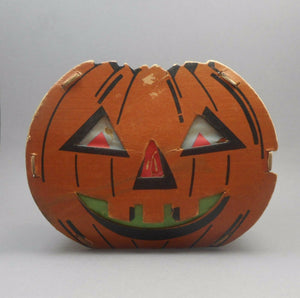 Vintage Cardboard and Tissue Paper Halloween Jack O Lantern Decoration