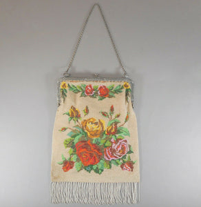 Antique 1920s Micro Beaded Evening Purse - Beige with Red Roses, Silver Tone Frame and Chain