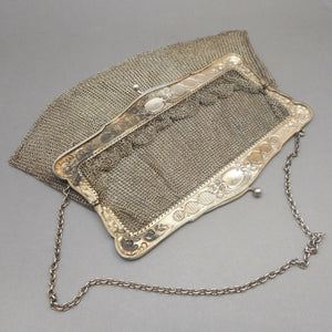 Antique Victorian Chain Mail Mesh Purse - 800 Silver Frame with NC Monogram