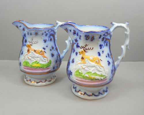 Antique c 1850 English Staffordshire Pottery - Pair of Pitchers with Hunt Scene in White, Flow Blue