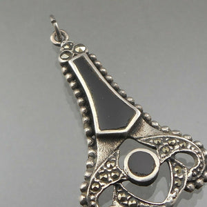 Vintage Onyx and Marcasite Pendant - Victorian Revival Style, Black and Silver