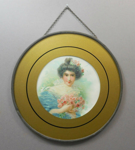 Antique Victorian Chimney Flue Cover - Portrait of Woman with Roses