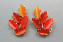 Load image into Gallery viewer, Vintage Lisner Lucite Autumn Leaf Clip On Earrings - Orange and Amber