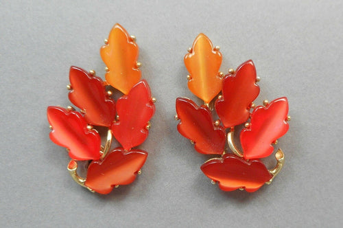 Vintage Lisner Lucite Autumn Leaf Clip On Earrings - Orange and Amber