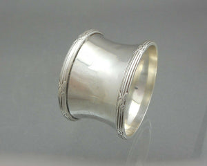 Antique Art Deco Napkin Ring - Sterling Silver with FHS Monogram