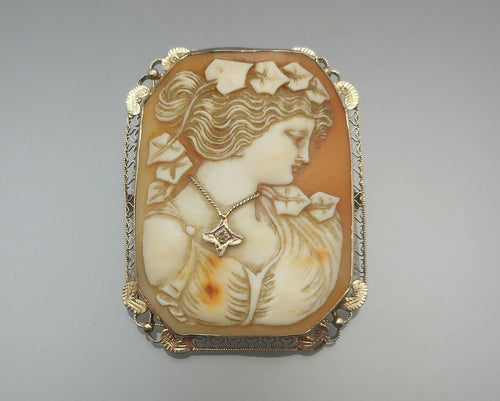 Antique Edwardian Cameo En Habille 14k Gold Brooch Pin Pendant Diamond Necklace