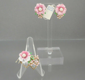 Vintage Flowers and Hearts Brooch and Earring Set