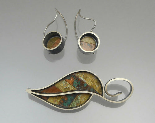 Handmade Oxidized Silver Earrings and Brooch Set - Artisan Crafted, Autumn Leaf Design