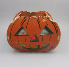 Load image into Gallery viewer, Vintage Cardboard and Tissue Paper Halloween Jack O Lantern Decoration