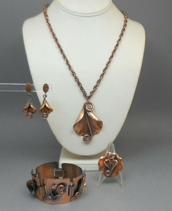 Vintage Mid Century Morley Crimi Copper Jewelry Set - Brooch, Necklace, Bracelet, Earrings