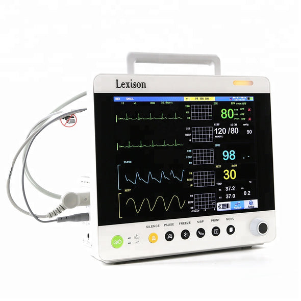 "KM76PM TFT LCD 12.1"" Veterinary Patient Monitor ECG, RESP, NIBP, SpO2, TEMP, PR, HR"