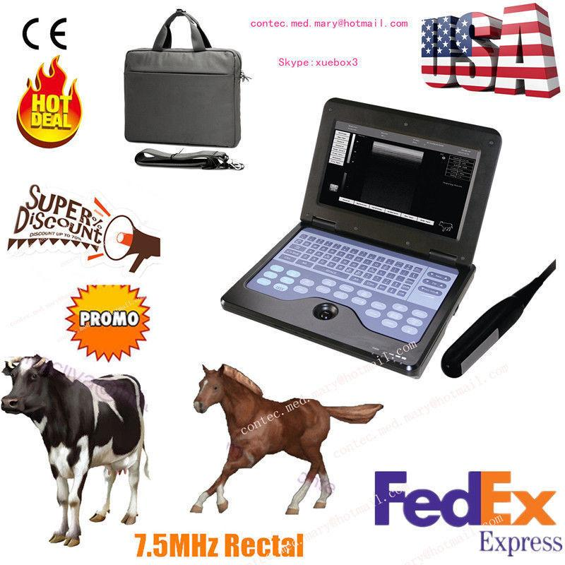 USA Veterinary Ultrasound Scanner Laptop Machine 7.5Mhz Rectal,bovine & equine 658126923446