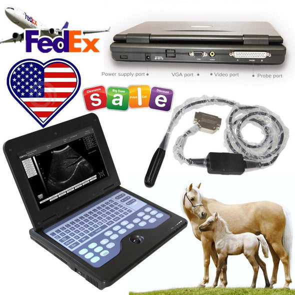 Veterinary Ultrasound Scanner Portable Diagnostic VET Machine+VGA, Equine&Bovine 658126923446