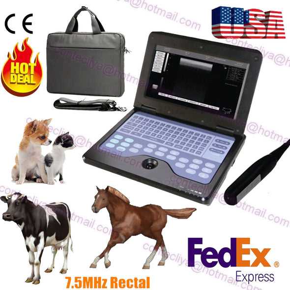 US Veterinary Bovine&equine Ultrasound Scanner CMS600P2-VET+7.5 endorectal probe 658126923446