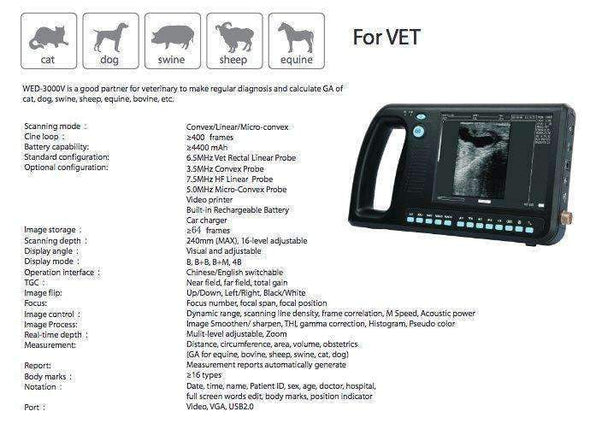 Refurbished WED-3000Vet Handheld Ultrasound Features | KeeboVet