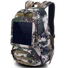 Load image into Gallery viewer, Solar Backpacks  Large Travel Bug Out Bag Shoulder Bags Camouflage  with Detachable Panel