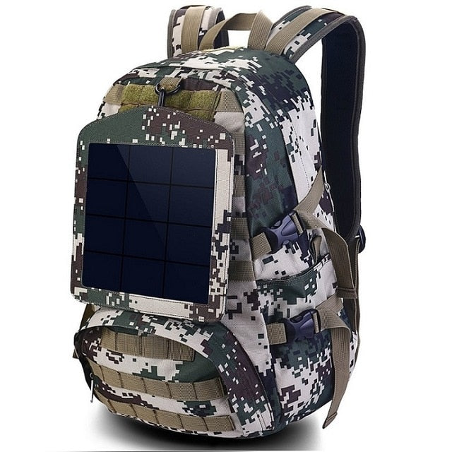Solar Backpacks  Large Travel Bug Out Bag Shoulder Bags Camouflage  with Detachable Panel