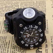 Load image into Gallery viewer, Military Tactical USB LED Multifunctional Survival Wrist Watch Flashlight Compass Lamp