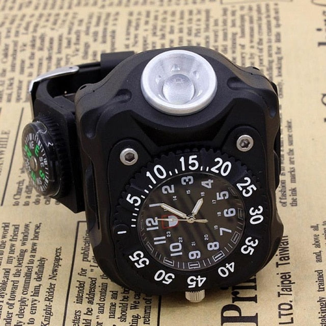 Military Tactical USB LED Multifunctional Survival Wrist Watch Flashlight Compass Lamp