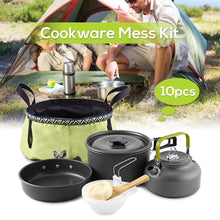 Load image into Gallery viewer, 10 PCS Outdoor Survival Backpacking Cookware