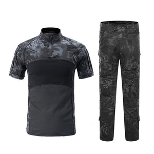 Military  Camouflage Tactical Suits Short Sleeve Brand Cotton Breathable Combat Frog Set