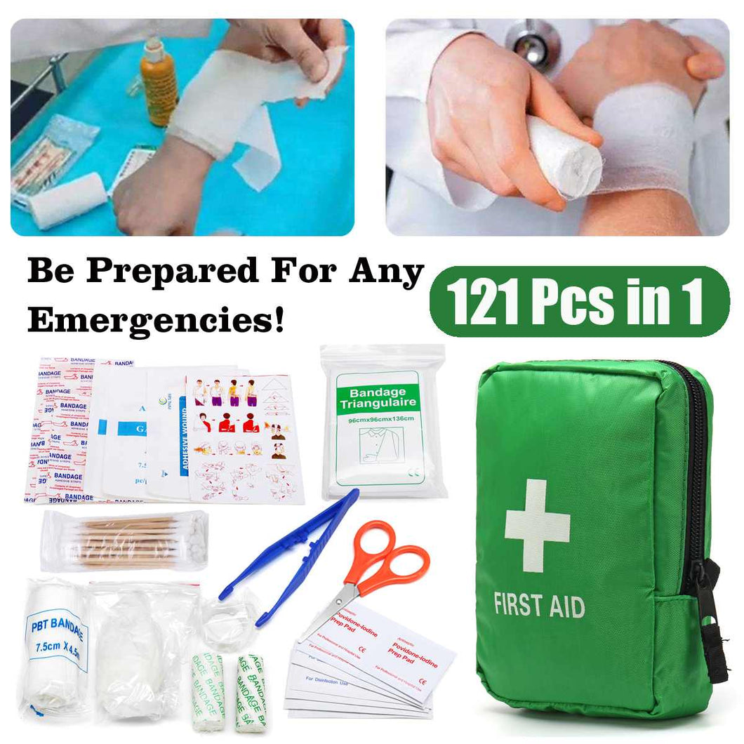 121Pcs Green Mini  First Aid Medical Emergency Kit  Wilderness Survival