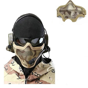 Military Tactical Survival Mask Hunting Metal Wire Half Face Mesh Mask