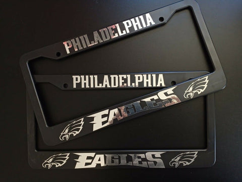 - SET of 2 - Philadelphia Eagles Plastic License Plate Frames