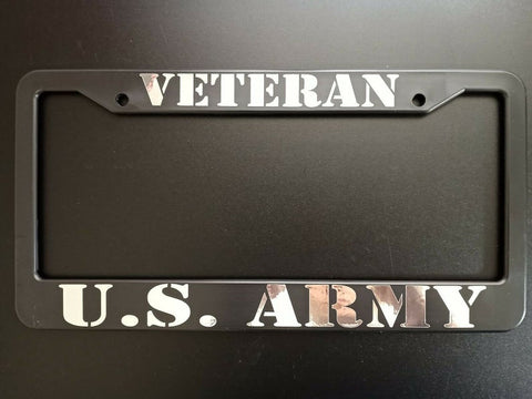 SET of 2 - U.S. ARMY Veteran Black Plastic License Plate Frame