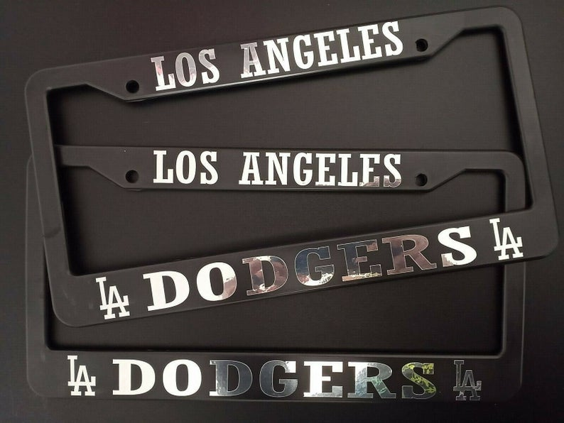- SET of 2 - Los Angeles Dodgers Black Plastic License Plate Frames