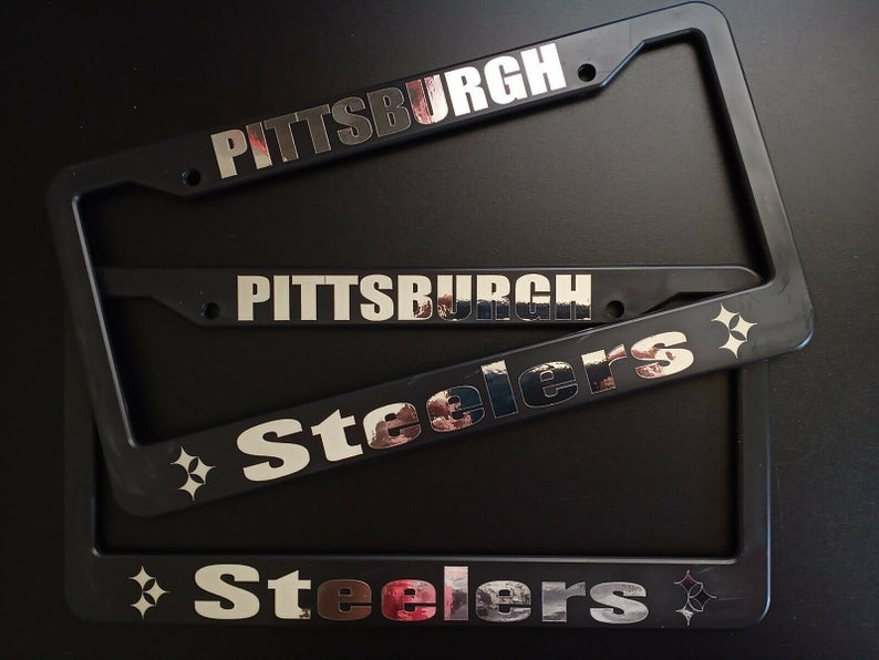 SET of 2 - Pittsburgh Steelers Plastic License Plate Frames