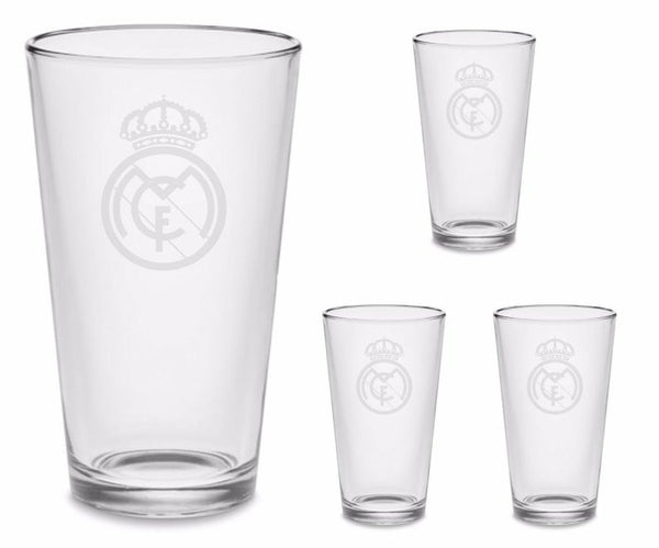 SET Real Madrid Custom Pint Pub Glasses Etched Tumbler Drinkware