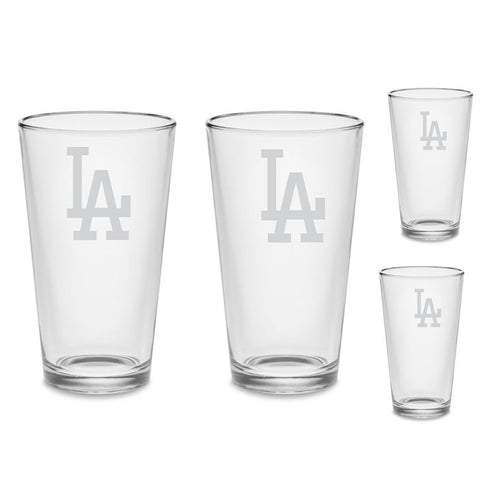 SET Los Angeles Dodgers Custom Pint Pub Glasses Etched Tumbler Drinkware