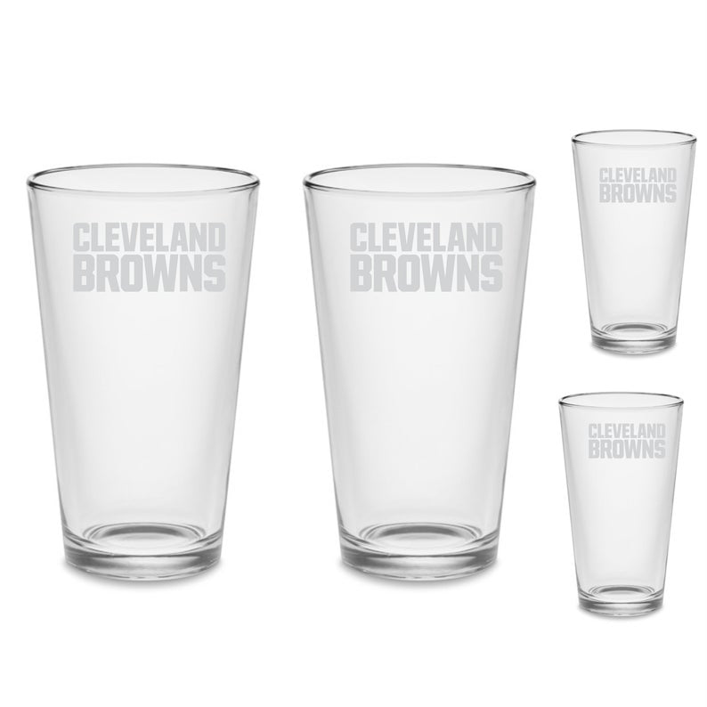 SET Cleveland Browns Custom Pint Pub Glasses Etched Tumbler Drinkware