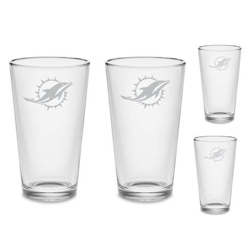 SET Miami Dolphins Custom Pint Pub Glasses Etched Tumbler Drinkware