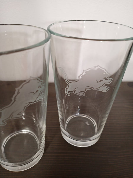 SET Detroit Lions Custom Pint Pub Glasses Etched Tumbler Drinkware