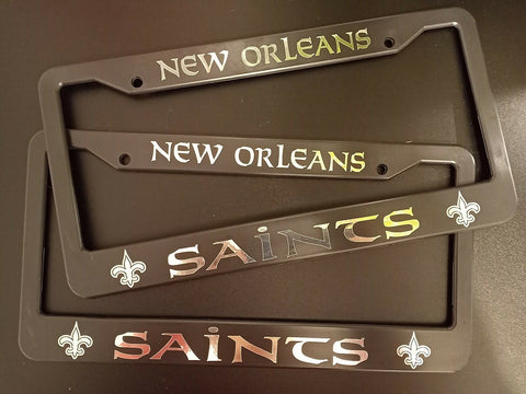 - SET of 2 - New Orleans Saints Plastic License Plate Frames
