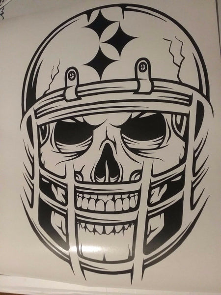 Pittsburgh Steelers Skull Vinyl Car Van Truck Decal Window Sticker