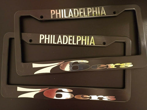 - SET of 2 - Philadelphia 76ers Plastic License Plate Frames