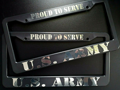 SET of 2 - U.S. ARMY Proud To Serve Black Plastic License Plate Frames