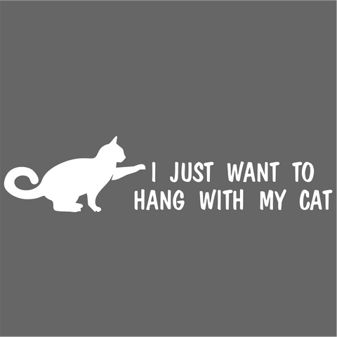 I just Want To Hang With My Cat Vinyl Decal